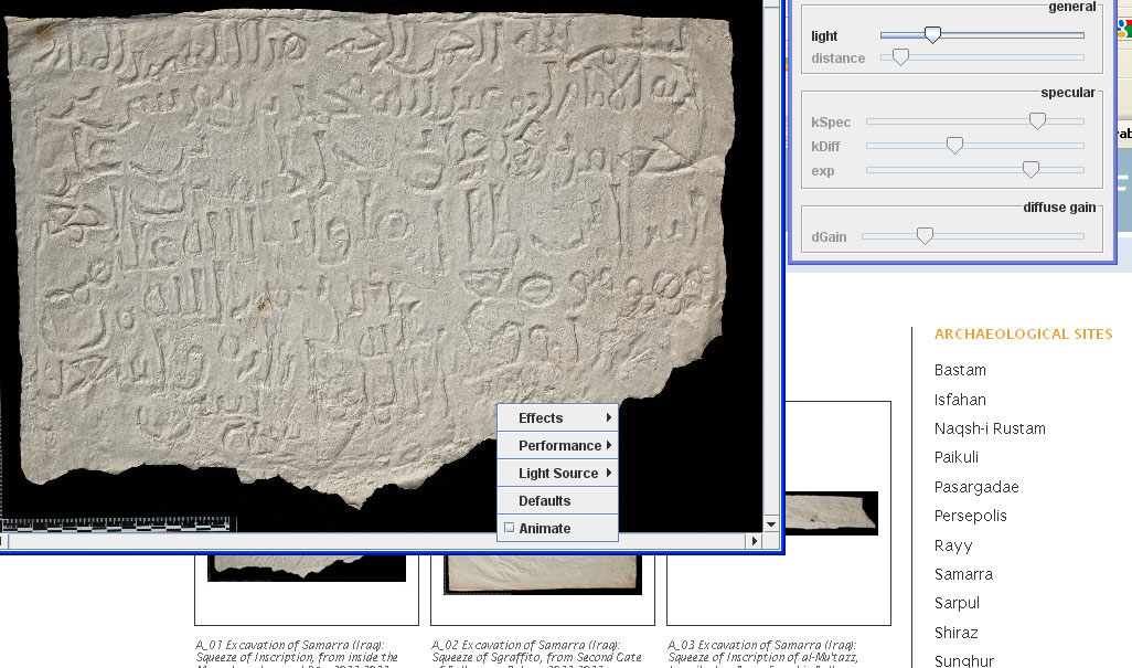 A screenshot of the Freer|Sackler Archives' Squeeze Viewing Tool, part of their Squeeze Imaging Proj