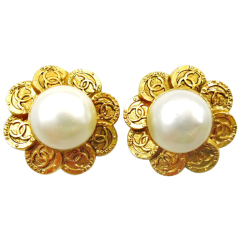Vintage 1980's Chanel pearl earrings surrounded by mini gold coins