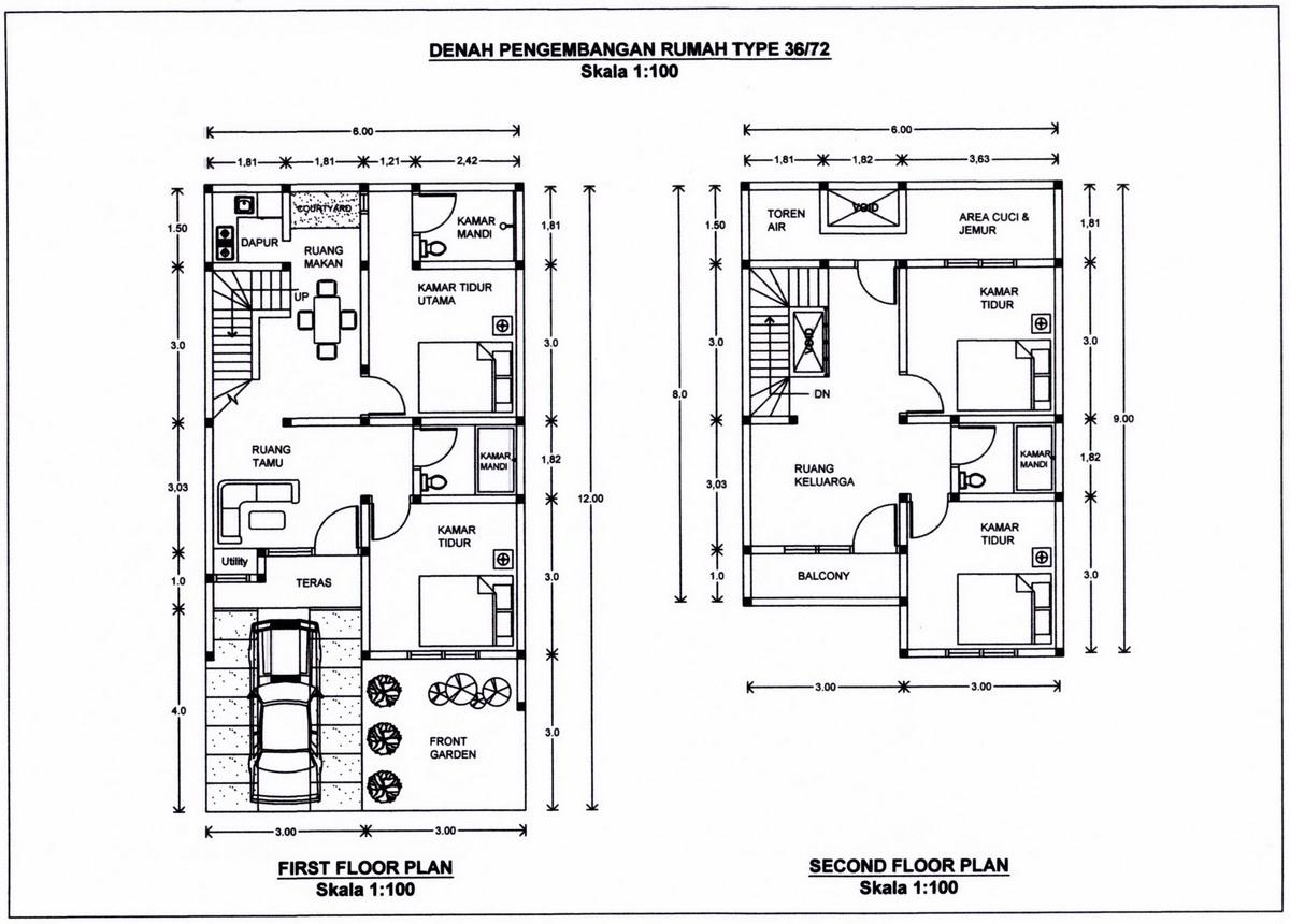Denah Renovasi Rumah 2 Lantai Type 36 Desain Denah Rumah