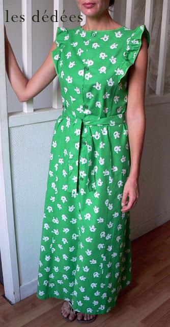 les dedees vintage recup creations la robe longue ann es 70 en vert et contre tout by ben. Black Bedroom Furniture Sets. Home Design Ideas