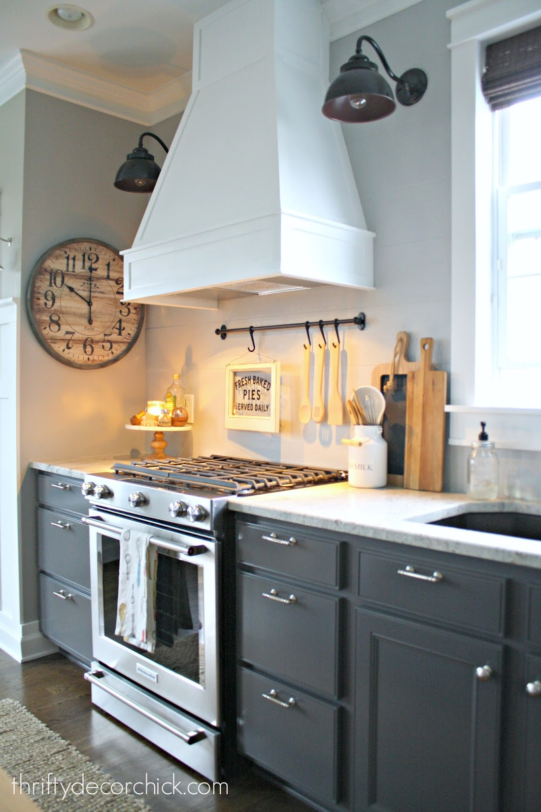 Kitchen diys details and sources from thrifty decor chick for Kitchen range hood images
