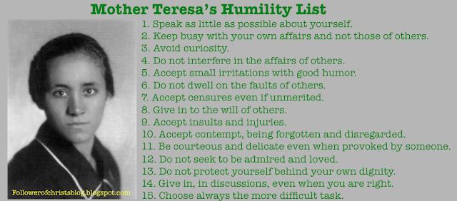 mother teresa's humility, humility, pride