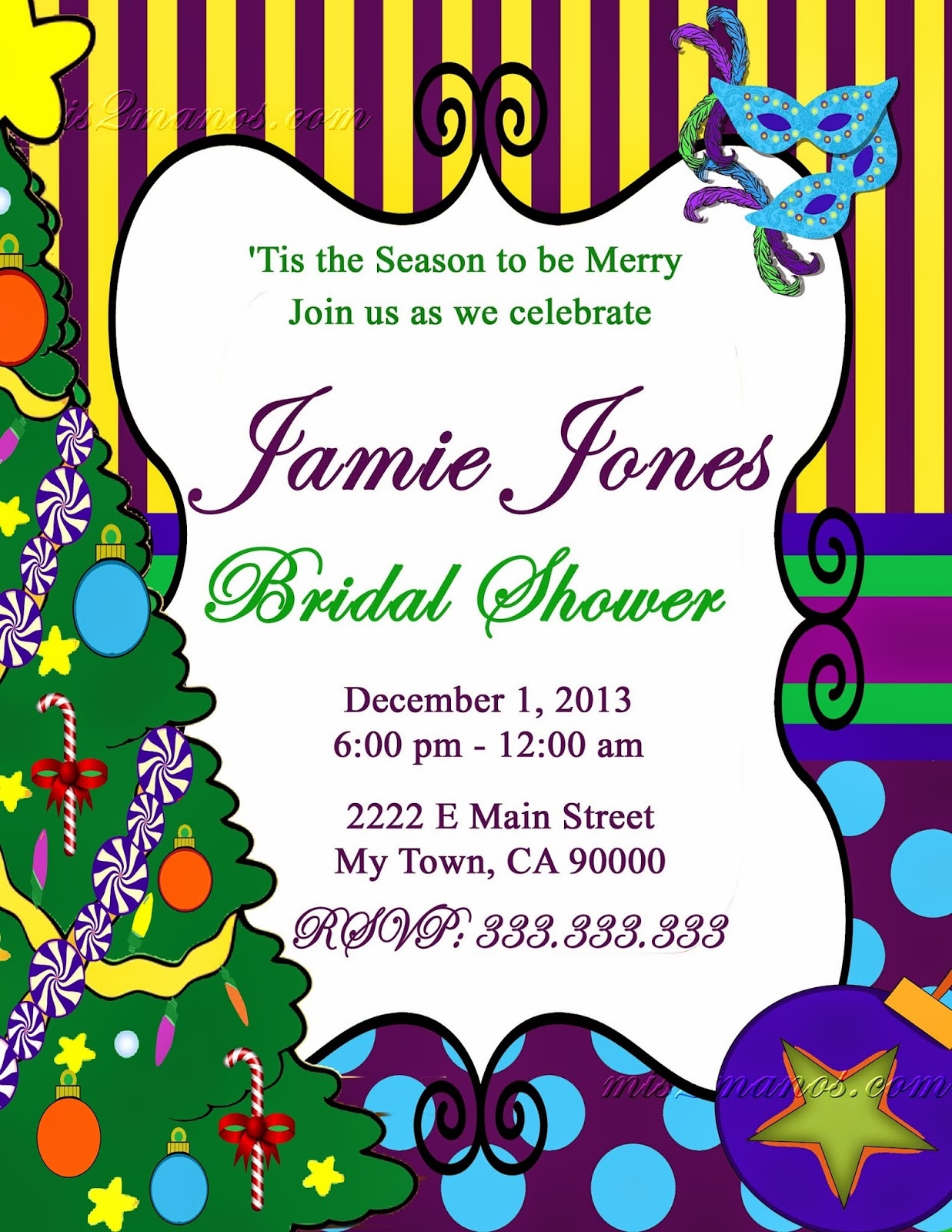 Mis 2 manos made by my hands mardi gras christmas bridal shower mardi gras christmas bridal shower baby shower holiday digital christmas invitation printable personalized christmas invitation monicamarmolfo Choice Image