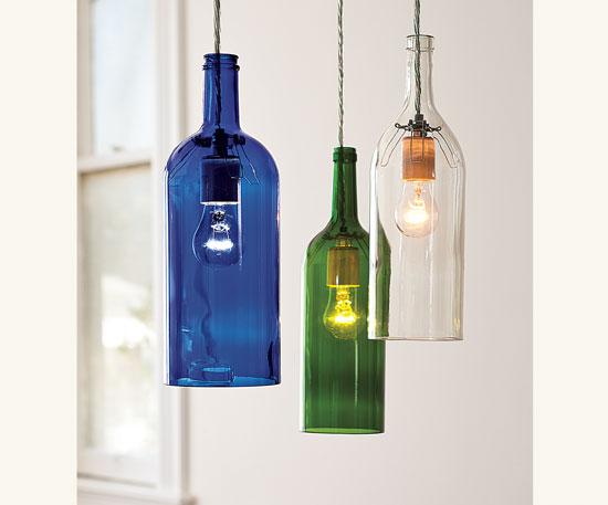 Awesome outdoor garden lightings recycling center - Wine bottle pendant light ...