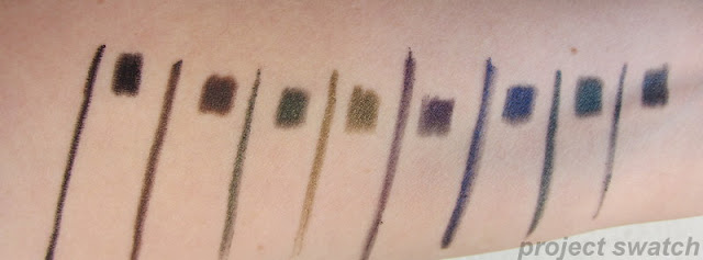 Prestige Total Intensity swatches - Deepest Black, Bold Brown, Daring Green, Intense Olive, Powerful Purple, Fierce Blue, Fearless Teal, Strong Slate