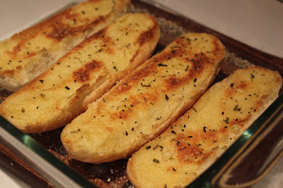garlic bread made with leftover hot dog buns