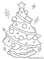 Mewarnai gambar pohon natal yang telah dihias