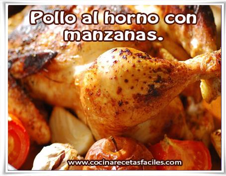 Recetas de pollo , pollo  al horno con manzanas.