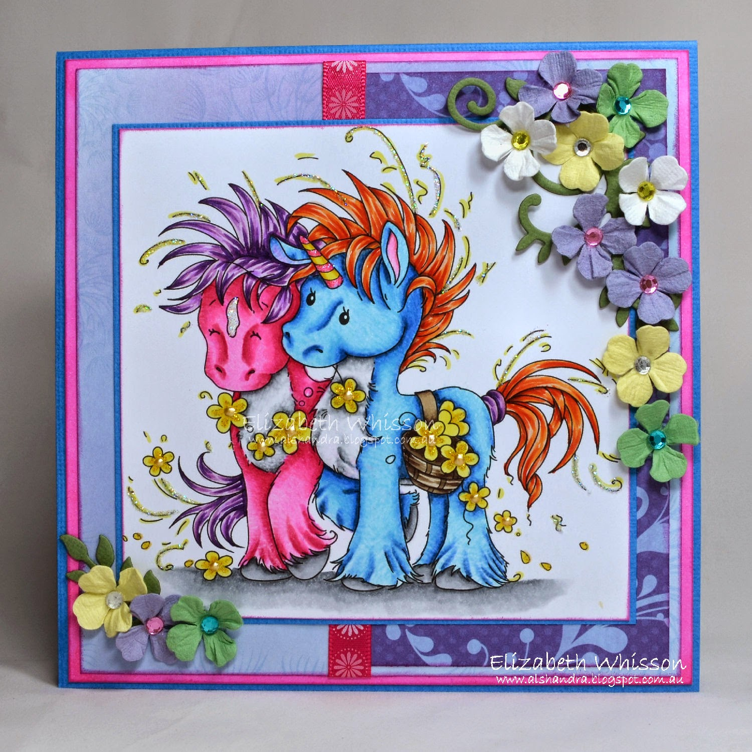 Elizabeth Whisson, Alshandra, Unicorn, pony, horse, flowers, Copics, handmade card, mythical, Whimsy Stamps, Spellbinders, ODBD, Our Daily Bread Designs, Fancy Foliage dies, Foliage Two