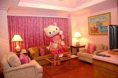 Living Room Interior Decorating Themed Hello Kitty At All Places Including  Wall Pink Sofa Chair Chandelier Decorative Wooden Floors And Unique Wall  Hello ...