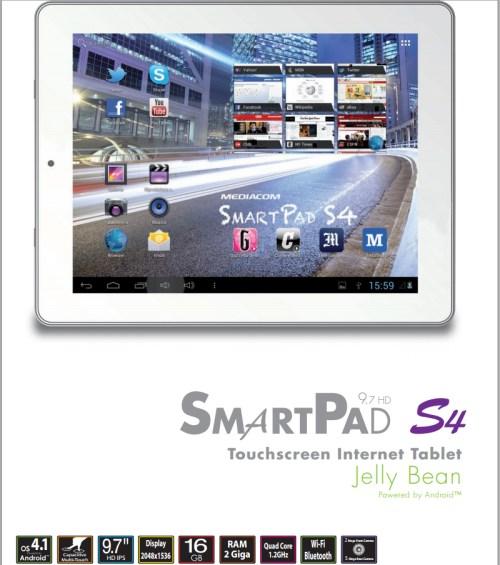 Nuovo tablet da 9,7 pollici di display con risoluzione 2048 x 1536 pixel e processore quad core Cortex A7