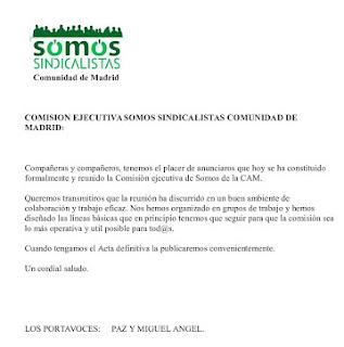 Constitución de la ejecutiva Somos Sindicalistas Comunidad de Madrid