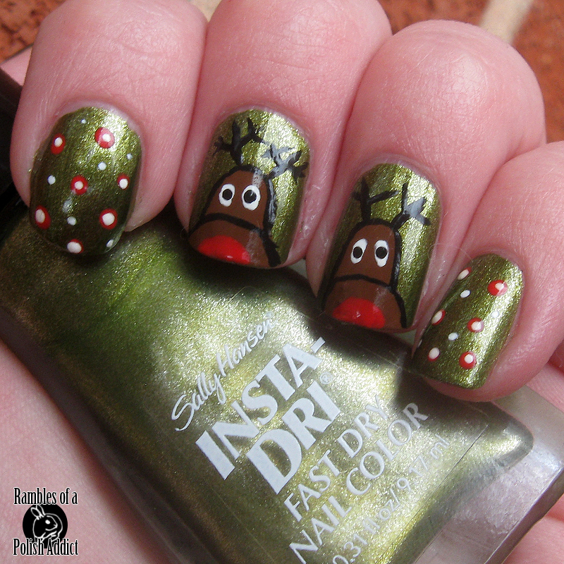 reindeer christmas nail art sally hansen instadri s-pear time