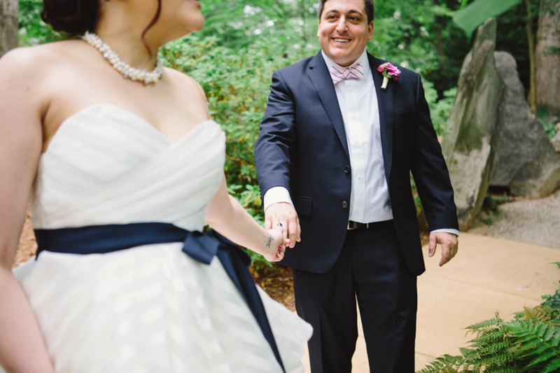 Bride and groom walking together before their wedding ceremony in Atlanta