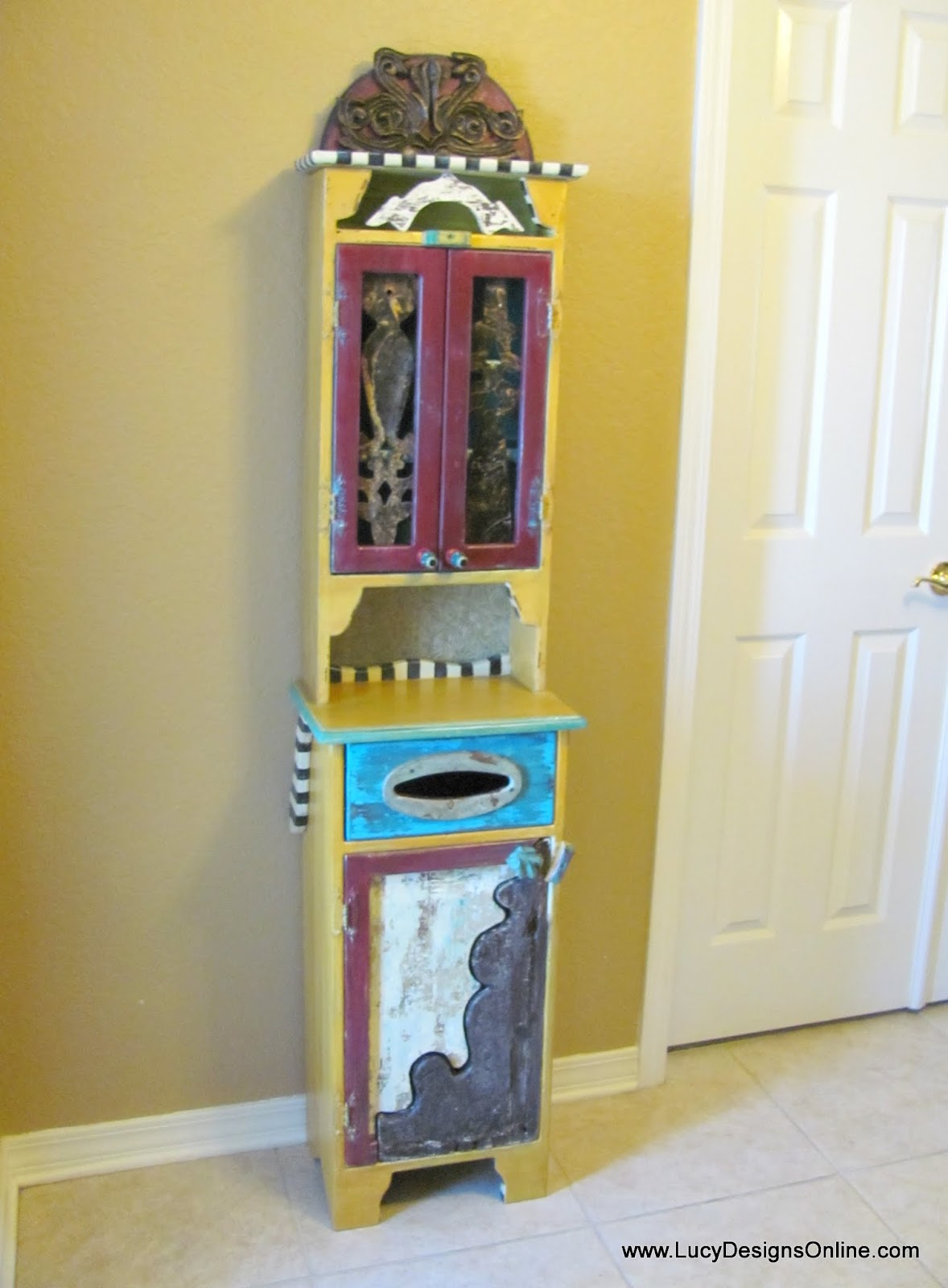 recycled and painted cabinet makeover