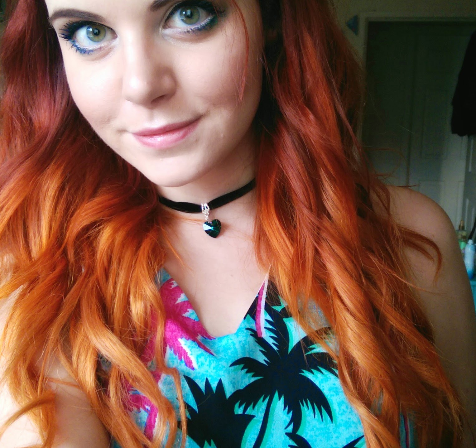 red orange ombre dip dye hair