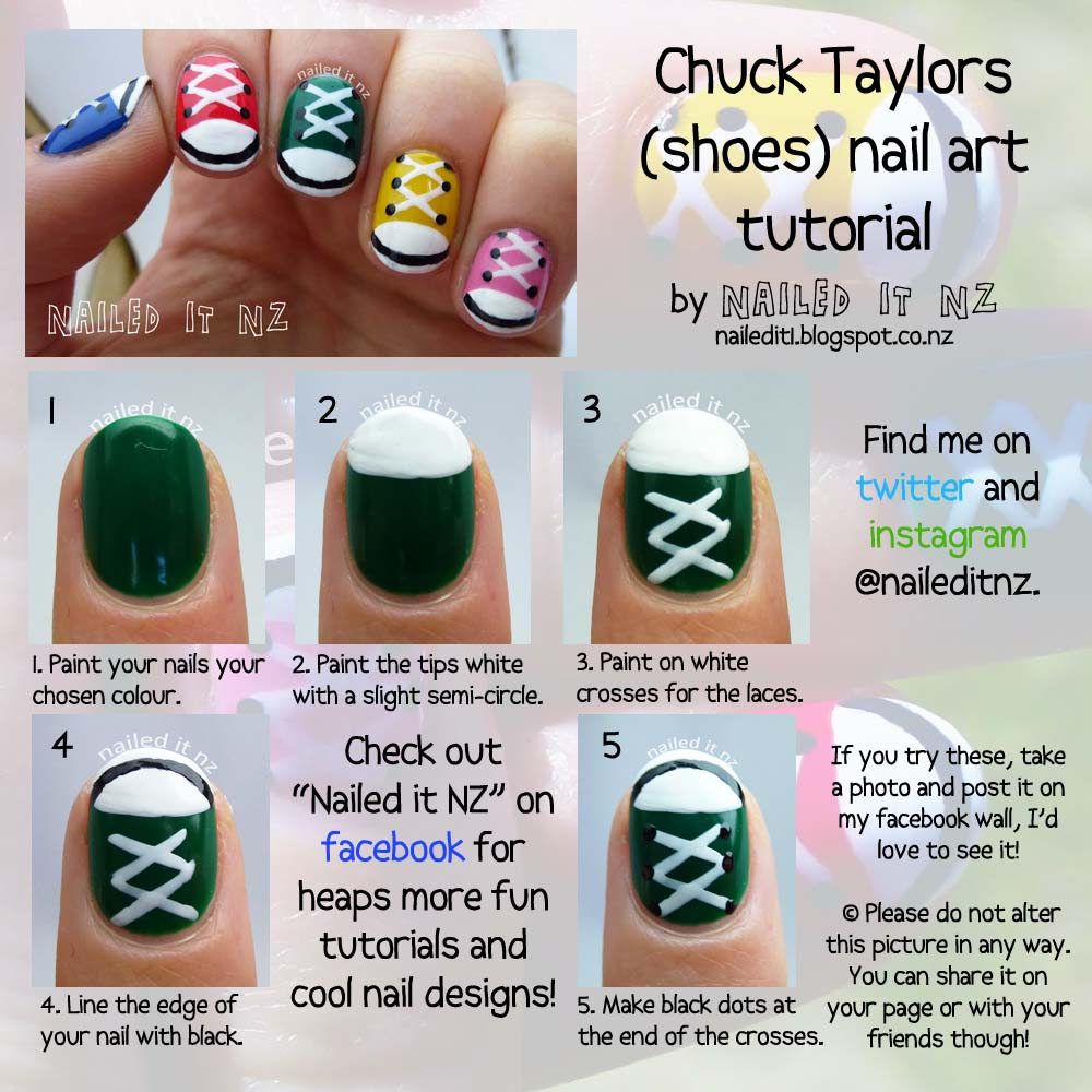 Nail Art For Short Nails 9 Chuck Taylorsshoe Nails