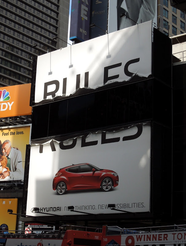 Hyundai Rules broken special billboard NYC