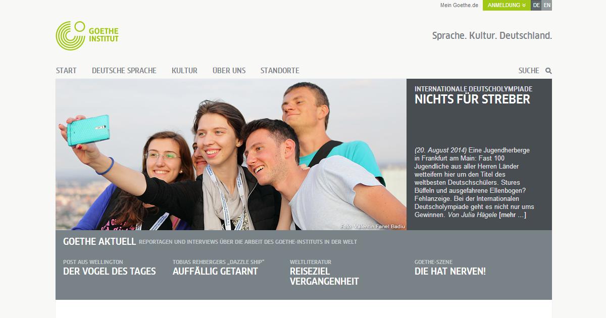 Die neue Startseite von Goethe.de
