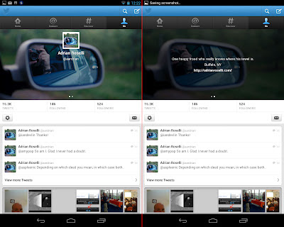 Screen capture of updated Twitter app with new header (Nexus 7).