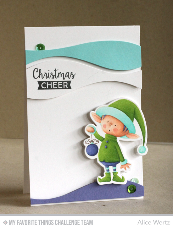 Christmas Cheer Card by Alice Wertz featuring the Birdie Brown Santa's Elves stamp set and Die-namics, the Gift Tag Greetings stamp set, and the Snow Drifts Cover-Up Die-namics #mftstamps