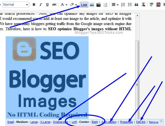how to optimize our images in blogger