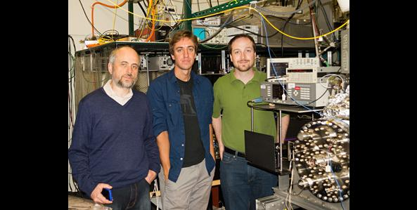 Left to right, Dmitry Budker, Nathan Leefer and Michael Hohensee with their experiment to test Einstein's speed limit. Photo by Andreas Gerhardus.