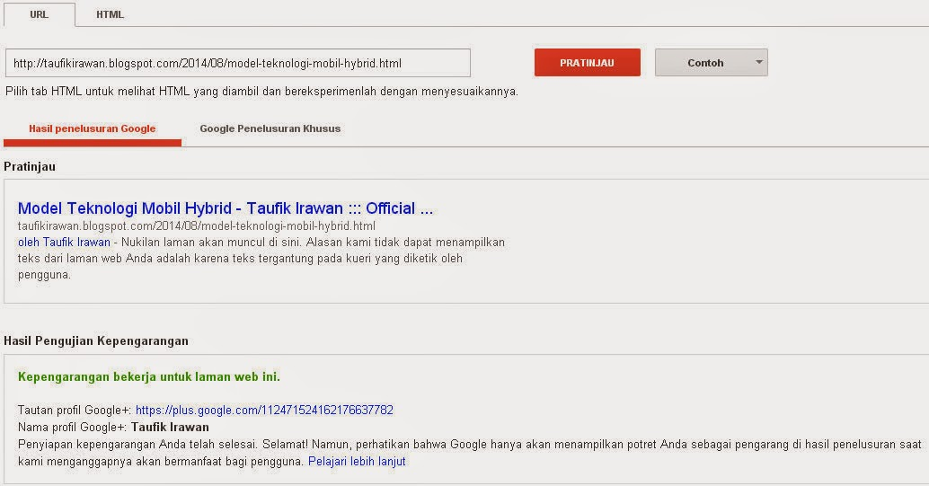 Cek profile authority di structured data testing tool