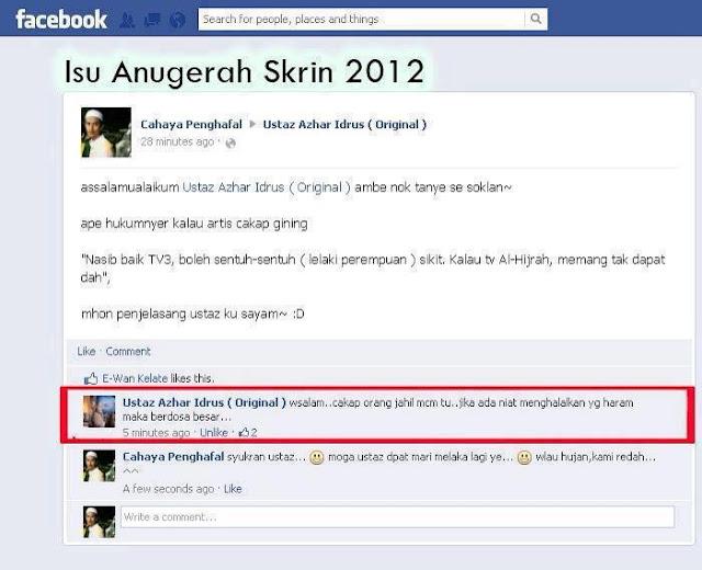 Lawak Rosyam Nor Di Anugerah Skrin 2012 Timbulkan Kontroversi