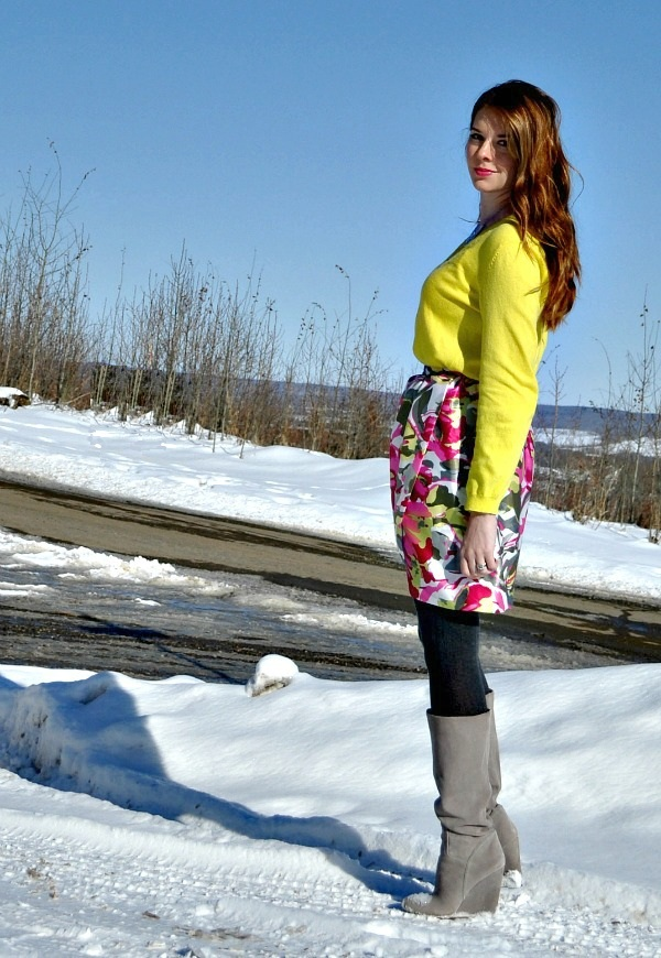 Neon sweater with a floral skirt