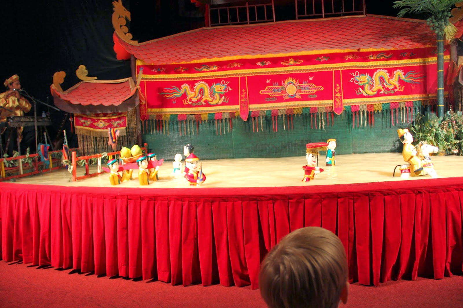 A performance at the Golden Dragon Water Puppet theater.