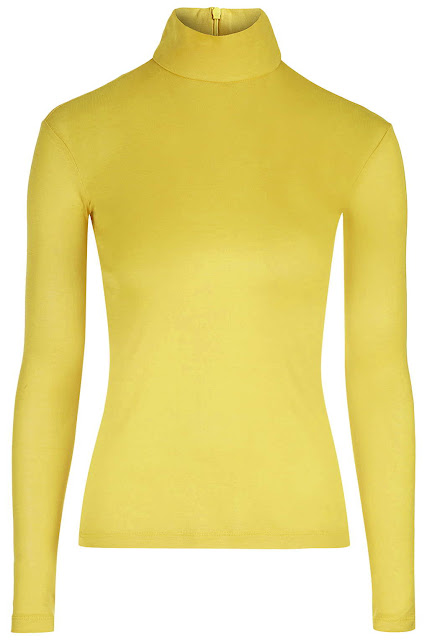 yellow topshop unique top, yellow roll neck top,