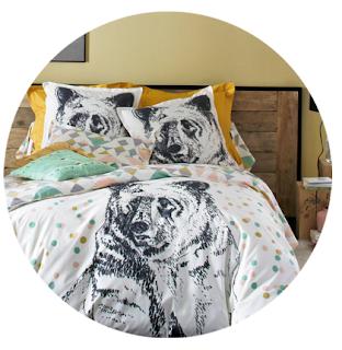 draps de lit ours géométrique