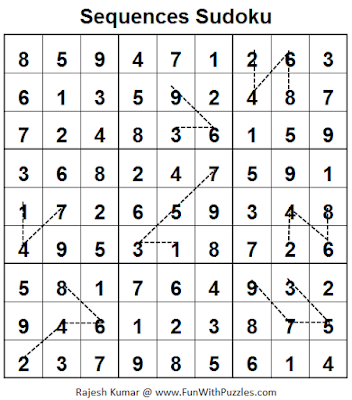 Sequences Sudoku (Fun With Sudoku #55) Solution