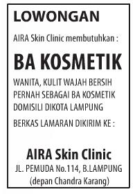 Lowongan BA Kosmetik Aira Skin Clicic Bandar Lampung