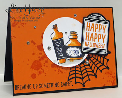 Stampin' Up! Sweet Hauntings stamp set. Handmade Halloween card by Lisa Young, Add Ink and Stamp
