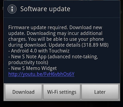 samsung galaxy note ics update