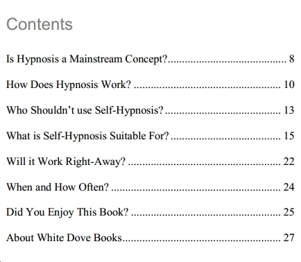 contents of the book advanced hypnosis for newbies