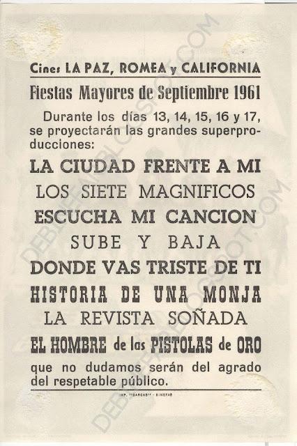 Cine durante las Fiestas Mayores de Binéfar de 1961,