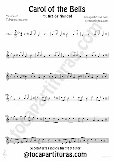 Tubescore Carols of the Bells sheet music for Oboe traditional Christmas Carol Music Score