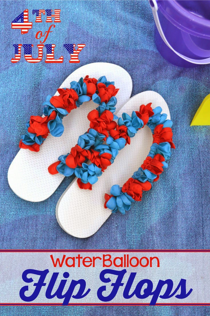 Red white blue water balloon flip flop tutorial for Water balloon christmas decorations