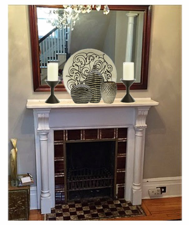 traditional mantle, mantle vignette, decorating a mantle, vases,