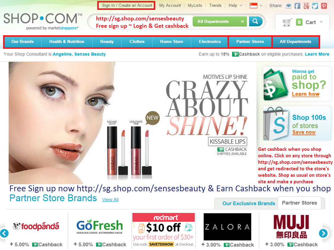 Free sign up ~ Get cashback when you shop online http://sg.shop.com/sensesbeauty. Register now!