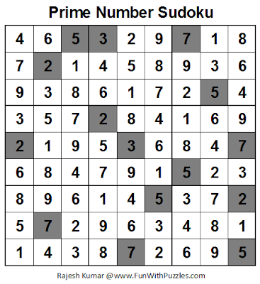 Prime Number Sudoku (Fun With Sudoku #28) Solution