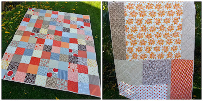 a collage showing a brown and orange patchwork quilt front and back side