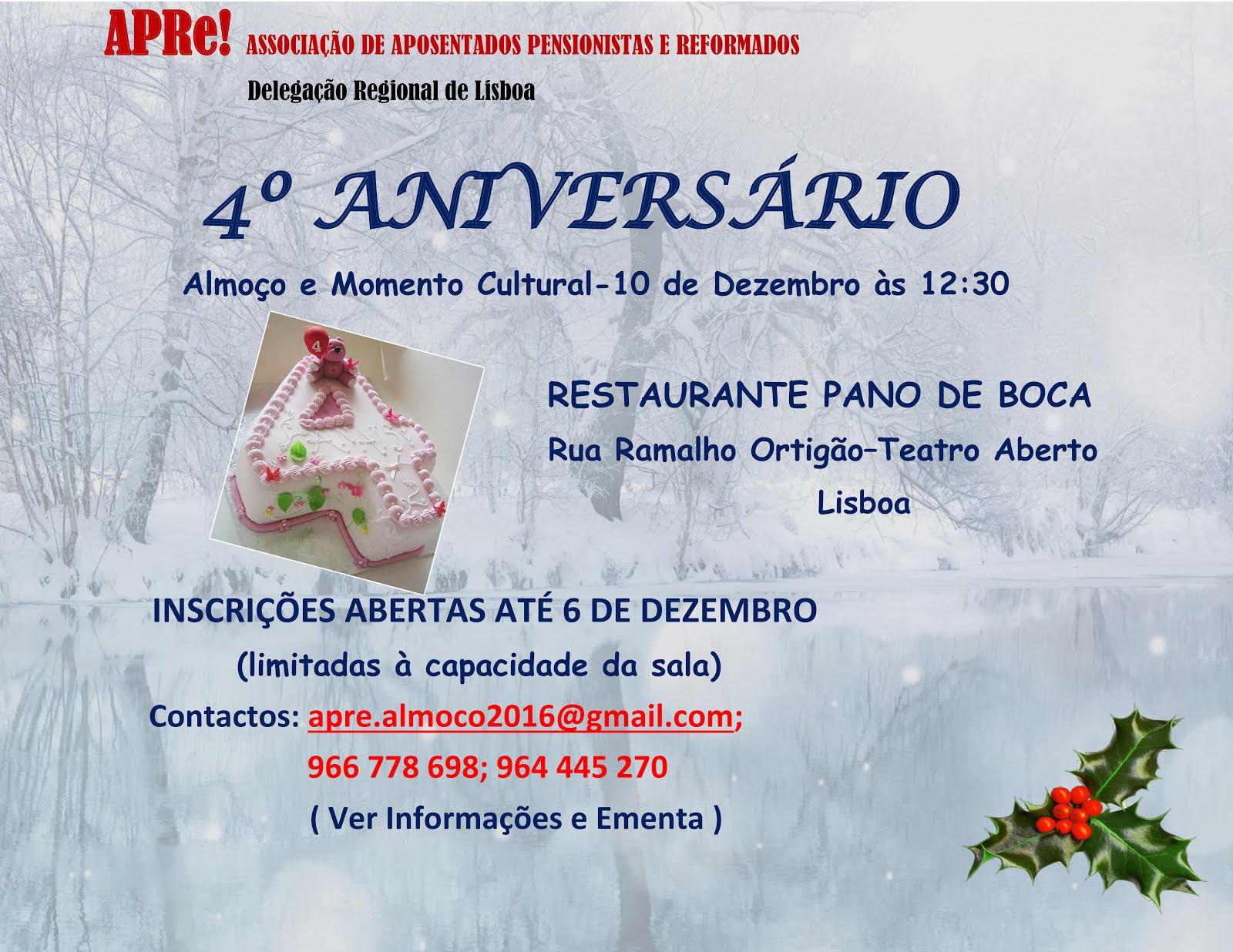 Delegação Regional de Lisboa, almoço comemorativo do 4º aniversário da APRe!