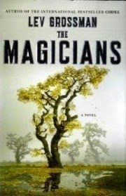 Cover art for The Magicians, featuring a sparse, golden-leafed tree behind a shallow puddle set in short, golden grass. Three more trees are vaguely visible through a mist that hangs in the background.