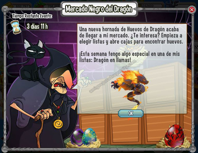 nuevo dragon del mercado negro de dragon city-dragon en llamas