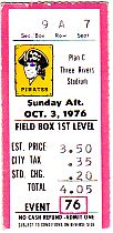 10/3/76- LAST GAME OF 1976 SEASON; 6 DAYS BEFORE BOB'S PASSING