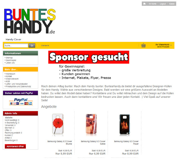 Homepage Onlineshop Buntes Handy